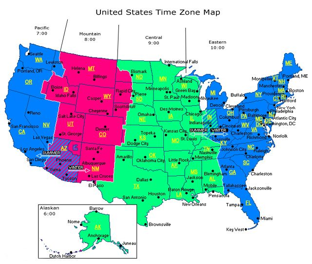 Us Surface Map Forecast Globalinterco - Us map colored by time zone